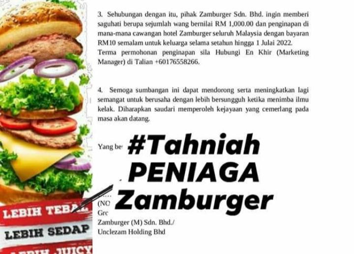 Anak Peniaga Burger dapat RM1,000 dan penginapan di Hotel Zamburger